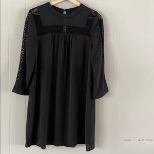MOSSIMO long sleeve dress LBD with crochet neck
